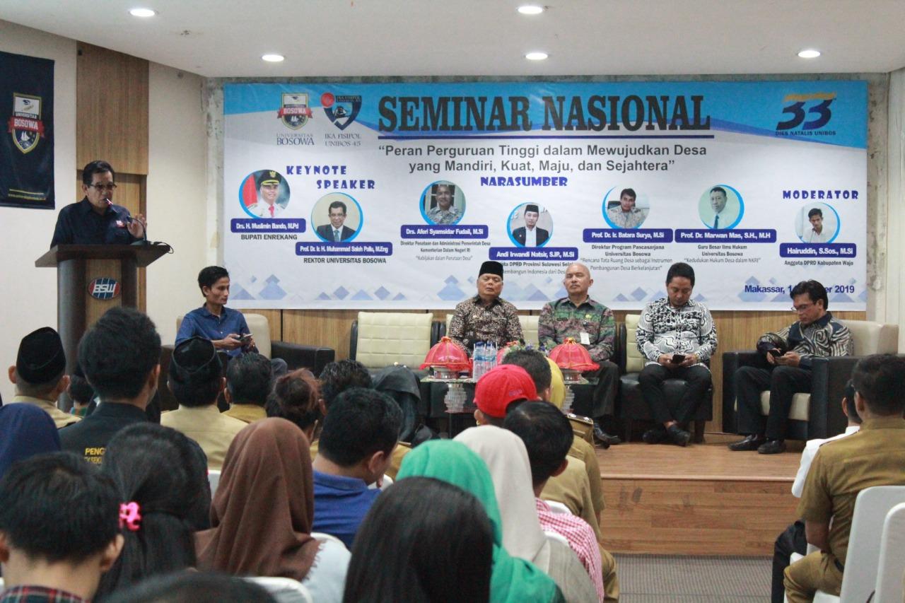 IKA FISIPOL Unibos Bahas Peran Perguruan Tinggi Dalam Pembinaan Desa Pada Seminar Nasional